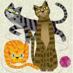 """""""Three Cool Cats"""" by iotaillustration"""