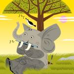 """""""The Elephant, The Flute and The Bird"""" by iotaillustration"""