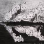 """Foxes (charcoal)"" by Miranda_Barnhardt"