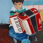 """Boy Accordian Player 1"" by LisasOils"