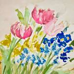 """Tulip, Daffodil, Pansy, and Grape Hyacinth Spring"" by nataliecardon"
