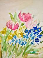 Tulip, Daffodil, Pansy, and Grape Hyacinth Spring