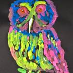 """Neon Owl On Black Background, Titled, ""Insomnia"""" by nataliecardon"