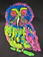 Neon Owl On Black Background, Titled,