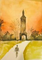 Watercolor Depiction of The Clock Tower in Lorton,