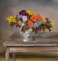 Flowers in antique vase Still Life