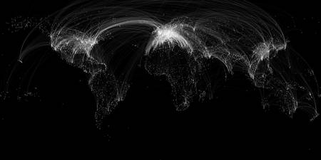 World Air Routes Black