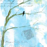 Letters From Home,Black Bird on Branch,Mixed Media Art Prints & Posters by Itaya Lightbourne