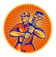 Plumber wielding holding monkey wrench retro