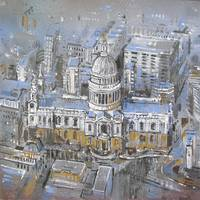 london. st pauls. aerial view.  city