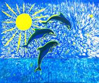 Dolphin's Sunrise silk painting