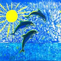 Dolphin's Sunrise silk painting Art Prints & Posters by Savanna Redman