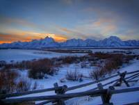 Cold Winter Teton Sunset