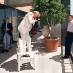 """Ronald Reagan on Balcony of Century Plaza Tower"" by worldwidearchive"