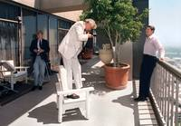 Ronald Reagan on Balcony of Century Plaza Tower by WorldWide Archive