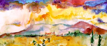 Summer Landscape Abstract Watercolor by Ginette