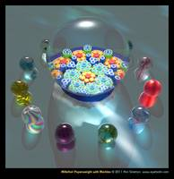 Millefiori Paperweight with Marbles