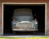 GMC in garage, closer