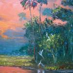 """Tropical Fire Sky over the Pond"" by mazz"