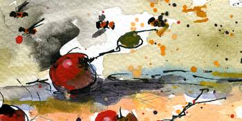 Modern Cherries  Watercolor by Ginette