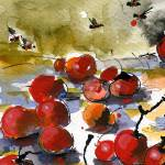 Modern Cherries #2 Watercolor by Ginette