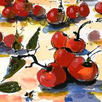 """Modern Cherries Square Watercolor by Ginette"" by Ginette Callaway"