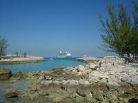 Ship berthed off Coco Cay, Bahamas