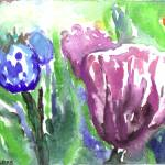 """Purple, Orange and Blue Tulips"" by nataliecardon"