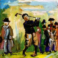 Vintage Golf Oil Painting by Ginette