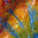 """Abstract Plants in Blue, Red, Green, Yellow"" by Lenora"