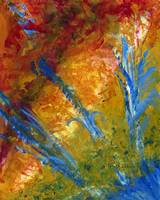 Abstract Plants in Blue, Red, Green, Yellow