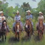 """Dawn Patrol- Cow Hunters Horses Cowboys Violano"" by stella"