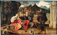 A Pair of Lovers and a Pilgrim in a Landscape