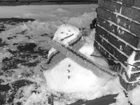 snowman on porch