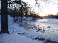 sunset winter lake