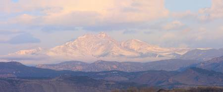 Longs Peak and Mt Meeker Twin Peaks Color Panorama