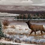 """Winter Scenery (with elk)"" by EMBlairArtwork"