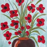 """Red Poppy Bouquet"" by wildlifeandabstractart"