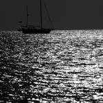 """Sailing at Sunset BW"" by DonnaCorless"