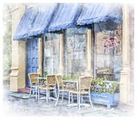 Cafe With Blue Awnings