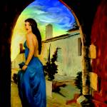 """Woman in blue"" by night"