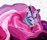 Butterfly on rose painting