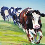 """Morning Walk - Painting of 4 cows walking"" by MikeJory"