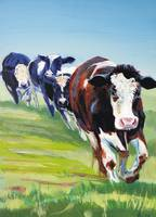 Morning Walk - Painting of 4 cows walking