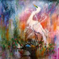 Great White Egret Painting by Ginette Callaway