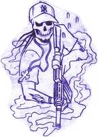 Skull man with gun