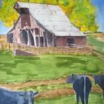 """Rural America Old Missouri Barn and black angus co"" by vickeysart"