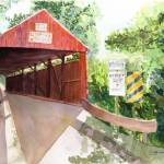 """Historic Covered Bridge in the Pennsylvania back c"" by vickeysart"