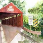 """Historic Covered Bridge in the Pennsylvania back c"" by vickeysart"