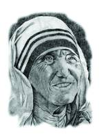 Hand Drawn Portrait of Mother Teresa